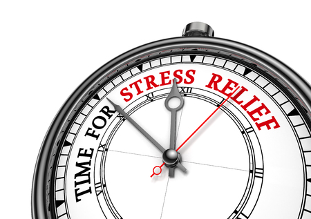 holiday stress: Time for stress relief motivation clock, isolated on white background Stock Photo