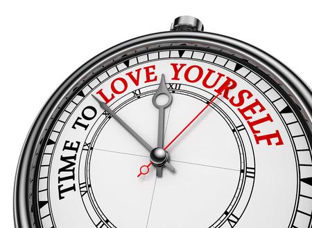 자신을 사랑할 시간 동기 부여 개념 시계, 흰색 배경에 고립 된