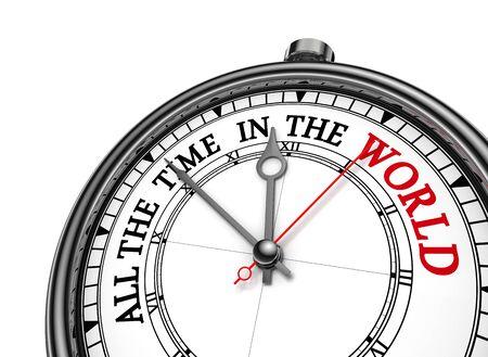 コンセプトの時計、白い背景で隔離の世界フレーズのすべての時間