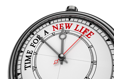 Time for a new life concept clock, isolated on white background Stock Photo