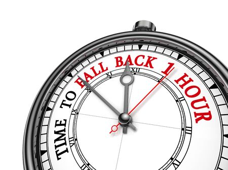 back in an hour: Time to fall back one hour concept clock, isolated on white background