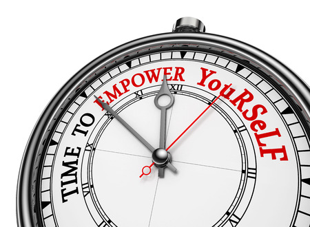 yourself: Time to empower yourself red message on concept clock, isolated on white background