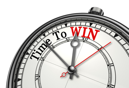 Time to win red word on concept clock, isolated on white background