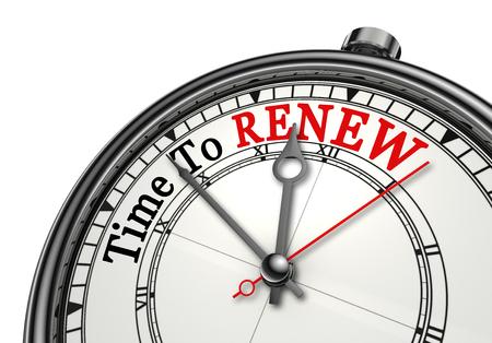 コンセプトの時計、白い背景で隔離の赤い word を更新する時間 写真素材