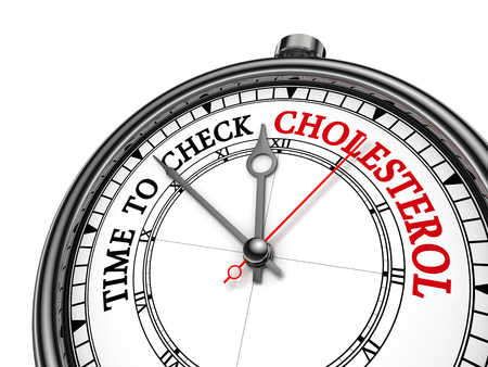 alarming: Time to check cholesterol level alarming message on concept clock, isolated on white background