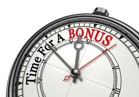 additional compensation: Time for a bonus red word on concept clock, isolated on white background