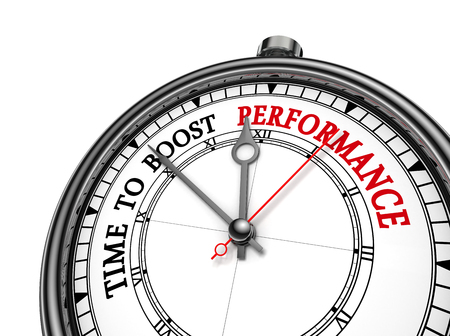 Tijd om de prestaties te verhogen motivatie op begrip klok, op een witte achtergrond