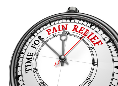 Time for pain relief motivation message on concept clock, isolated on white background Stockfoto