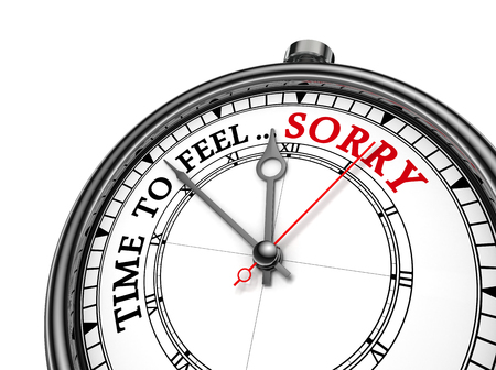 remorse: Time to feel sorry motivation on concept clock, isolated on white background