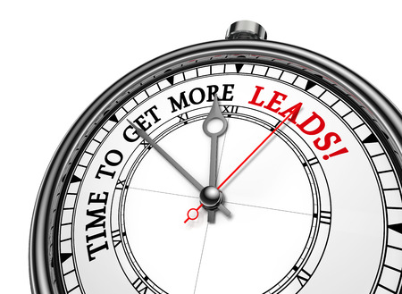 Time to get more leads message on concept clock, isolated on white background