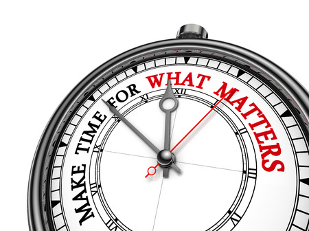 Make time for what matters motivation quote on concept clock, isolated on white background