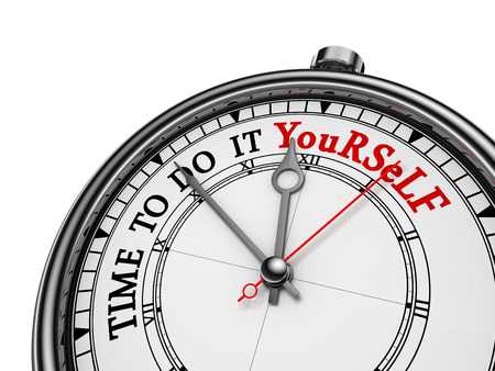do it yourself: Time to do it yourself red message on concept clock, isolated on white background