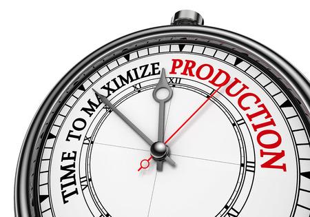生産コンセプトの時計、白い背景で隔離を最大にする時間