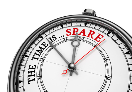 spare time: Spare time red word on concept clock, isolated on white background Stock Photo