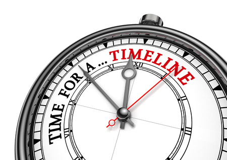 Time for a timeline conceptual message on clock, isolated on white background