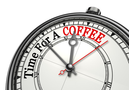 coffee hour: Time for a coffee red word on concept clock, isolated on white background