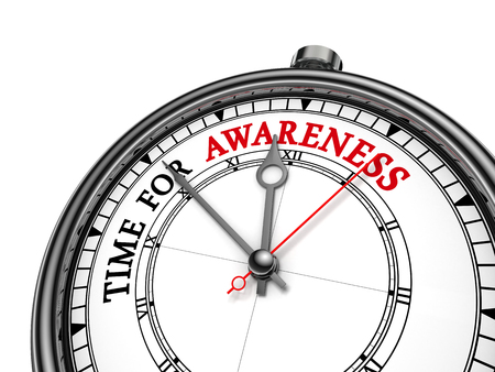 Tijd voor bewustwording motivatie bericht op begrip klok, op een witte achtergrond