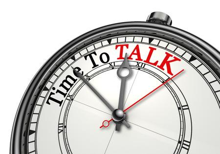 Tempo per parlare parola rossa sul concetto di orologio, isolato su sfondo bianco
