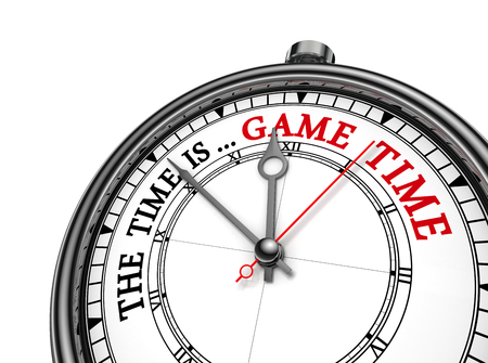 contest: Game time red message on concept clock, isolated on white background
