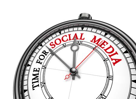 time sharing: Time for social media red motivation on concept clock, isolated on white background