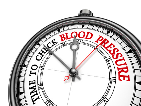 test deadline: Check blood pressure red motivation message on concept clock, isolated on white background Stock Photo