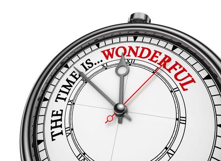 Wunderbare Zeit Zitat auf Konzept Uhr, isoliert auf weißem Hintergrund Standard-Bild