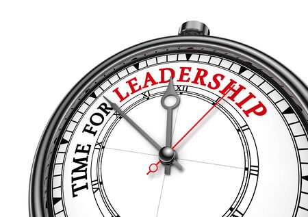 liderazgo: Time for leadership red message on concept clock, isolated on white background