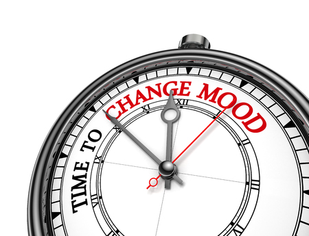 Time to change mood motivation message on concept clock, isolated on white background Reklamní fotografie