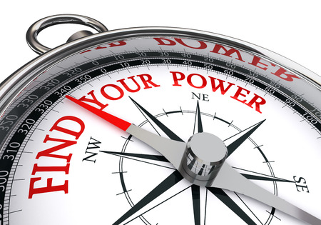 find your power red motivation message on concept compass, isolated on white background Imagens