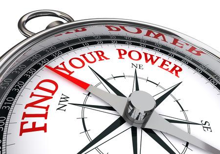 trovare il vostro potere messaggio motivazione rosso sul concetto di bussola, isolato su sfondo bianco Archivio Fotografico