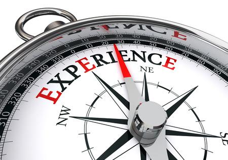 wort: Erfahrung Wort auf die Motivation Kompass Konzept, isoliert auf weißem Hintergrund