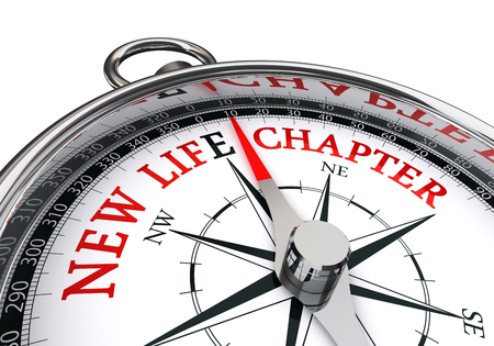 chapter: New life chapter direction indicated by motivation compass, isolated on white background