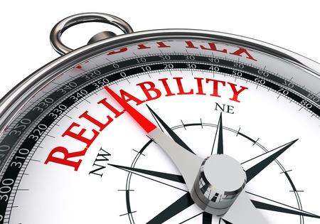 Zuverlässigkeit Wort auf die Motivation Kompass Konzept, isoliert auf weißem Hintergrund