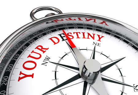 destiny: Your destiny, the way indicated by motivation compass, isolated on white background