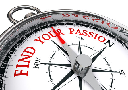 find your passion motivation message on compass, isolated on white background
