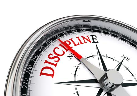 motivación disciplina palabra roja en el concepto de compás, aislado en fondo blanco Foto de archivo