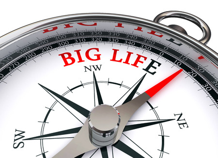 Big life motivation words on concept compass, isolated on white background Stock Photo
