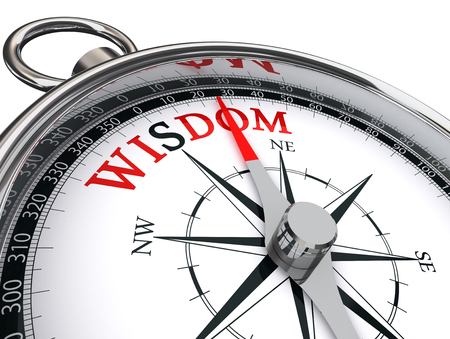 wisdom red word on motivation compass, isolated on white background