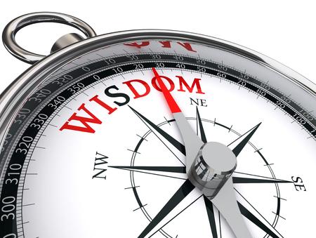 wijsheid rode woord op de motivatie kompas, geïsoleerd op een witte achtergrond Stockfoto