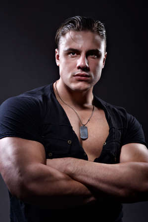 military training: Portrait of handsome muscular young man