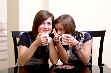 Two cheerful girls. Drinking tea and communicating. photo