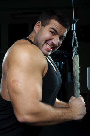 Bodybuilder training hard in gym Stock Photo - 8351854