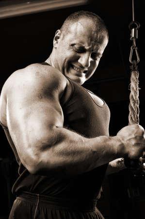 bodybuilder training: Strong muscullar man training body in gym.
