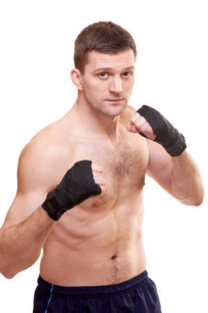 Portrait of a kick boxer isolated on white Stock Photo