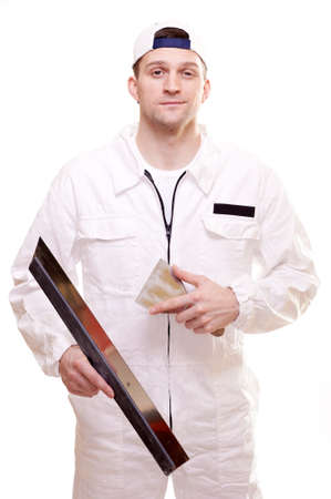 work workman: Portrait of a plasterer isolated on white