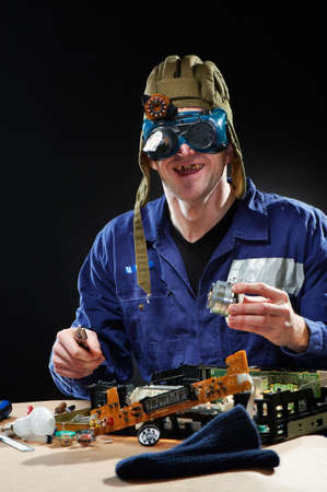 Crazy man in tankmans hat and glasses Stock Photo