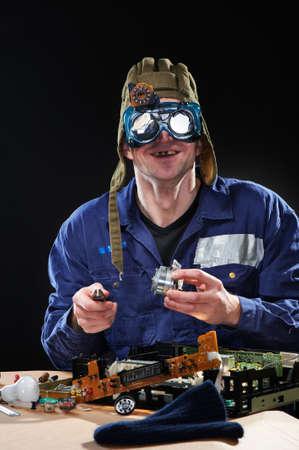 Crazy man in tankmans hat and glasses Standard-Bild