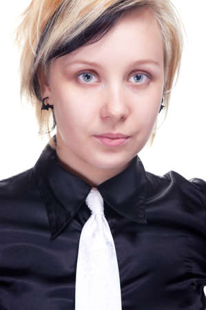 Portrait of a young woman in black shirt, on white photo