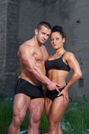 Portrait of athletic couple photo