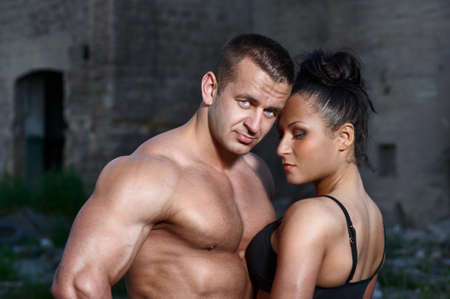 Portrait of athletic couple photo